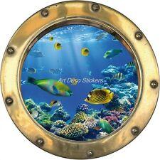 Sticker hublot trompe l'oeil déco Poissons tropicaux H348 H348
