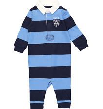 RALPH LAUREN baby boy BABYGROW  6/9M 9/12M Rugby Polo blue striped (74 80) BNWT