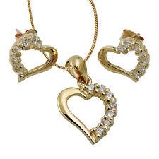 375 ECHT GOLD *** Herz Zirkonia Set Ohrringe + Anhänger,  Kette optional