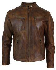 Mens Slim Fit Real Leather Vintage Retro Tan Brown Washed Biker Jacket Casual