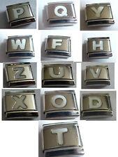 9mm Italian Charm - Choice of WHITE LETTERS Alphabet fits ALL Starter Bracelets