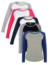 Ladies Womens GREY BLACK BLUE RED Long Sleeve Contrast Baseball Tee T-Shirt