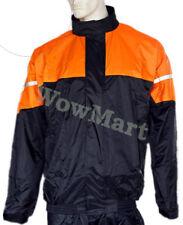 NEW Motorbike Cycling Workwear Windproof Waterproof Raincoat Rain Jacket Orange