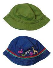 NEW! Next Baby Girls 2-Pack Denim Flamingo Embroidered Sunhat Bucket Hat Age 3-9