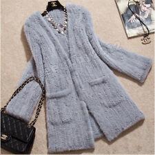 100% Echte gestrickte Nerz Pelz Mantel Coat Jacke Länge Damen Knit Winter Custom
