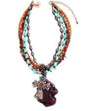 Treska Multi Beaded Pendant Necklace REMOVABLE Layers Turquoise Cross Jewelry
