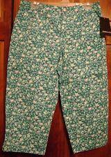 New Women's Capri Cropped Pants SZ 8 10 12 14 Jones & Co Turquoise Floral 358