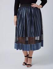 Lane Bryant Womens Plus 18/20 14/16 Velvet Illusion Midi Skirt Pleated 1X 2X