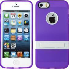 Silicone Case Apple iPhone 5 / 5s / SE Kickstand purple + protective foils