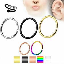 Nose Hoop Ring C Shaped Ear Helix Cartilage Tragus Septum Titanium Annealed 20G