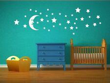 Moon And Huge Set Of Stars - Fantastic Kids Room / Nursery Wall Stickers. New UK