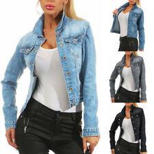 Womens Long Sleeve Denim Jacket Short Waist Coat Ladies Stretch Jeans Slim Tops
