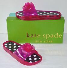 New $128 kate spade Splash Pink Swirl Transparent Jelly Slide Sandal Polka Dot