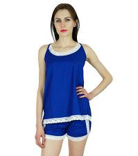 Bimba Women Shorts Vest Top Nigthwear 2 Pcs Rayon Night Wear Set With Lace
