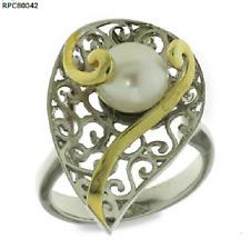 Echt 925 Silber Ring filigran Blatt bicolor Gold Süßwasserperle Damen großer Neu