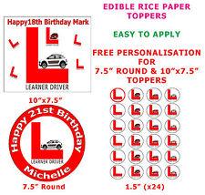 Personalizado alumno conductor licencia provisional cake/cupcake Topper Papel De Arroz