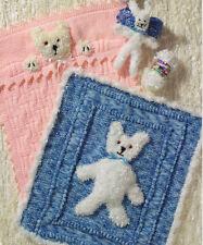"2 Baby Pram Blankets with Teddy Motif & Toy Rabbit  Knitting Pattern 20"" X 22"""
