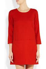 NWT £200 Designer J Crew Italian Stretch Wool Twill Shift Dress  Lined RED