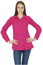 Long Sleeve Top Magenta Button Down Casual Kurta Cotton Shirt Blouse Women Wear