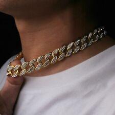 Aglare Mens Rapper Necklace Fashion Full Rhinestone Chain Boys Hip Hop Necklace