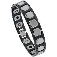 Tungsten Carbide 2-Tone (Black & Gun Metal) Magnetic Bracelet, H & Cushion Links