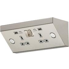 13 A 2 Gang Mounting Socket avec/sans double USB-Cuisine Sous Armoire