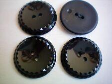 Large 28mm 44L Black Patent Polished Sparkle 2 Hole Coat Jacket Buttons (K343)