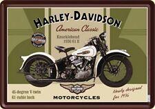 CARTE POSTALE en tôle/métal / panneau métallique Harley Davidson Rétro KNUCKLE