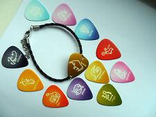 Birth Signs Zodiac Horoscope Guitar Pick Leather Bracelet 12 To Choose
