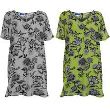 Para Mujer Cuello V Estampado Floral señoras más tamaño extragrande túnica TOP vestido corto