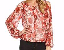 Karen Kane 2L05175 Orange Floral Cold Shoulder Top - MSRP $129