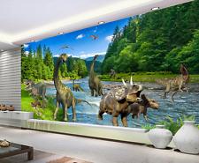 Papel Pintado Mural De Vellón Río Bosque Dinosaurio 2 Paisaje Fondo De Pantalla