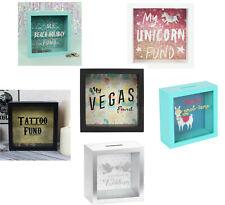 Glass Money Box Savings Bank Tattoo Unicorn Travel Holiday Fund Wedding