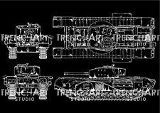 Churchill British Heavy Tank WWII Poster Patent Print Chalkboard vintage decor