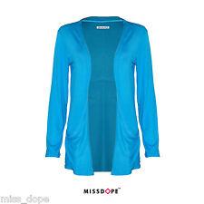 Nuevo Azul para Mujeres Damas Mangas largas Cardigan novio bolsillos Turquesa 8 10 12