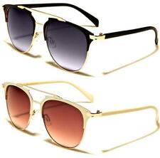 Nuevas Gafas de sol negras señoras Mujer Chica Diseñador Grande Aviador Grande de estilo vintage y retro