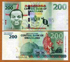 Swaziland, 200 Emalangeni 2010 (2011) New, Low S/Ns UNC