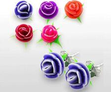Nuova Argento Sterling 925 Orecchini con fiore in silicone molti colori Novità orecchini