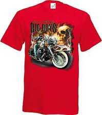 T Shirt im Rotton mit einem Biker-&Old Schooldruck Modell Big Boys Biker Skull