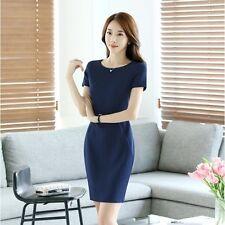 Élégant refined dress women's sheath short pinstriped blue sleeves 3520