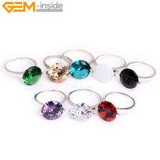 14mm Rhinestone Stone Beads Silver Plated Jewelry Ring #7-#9 Send Random Gift