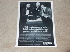 Thorens TD160 Super Turntable Ad, 1975, 1 Pg, Article, Nice Ad!