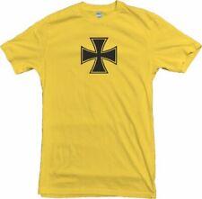Iron Cross Yellow T-Shirt - Gothic, Retro, 60's, 70's, Symbol, S-XXL