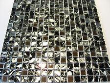 Glasmosaik mosaico de azulejos cristal claro negro plata 1,5x1,5 cm espejo kenia 2