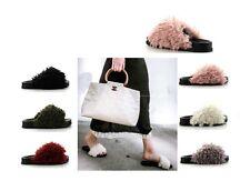 Open Toe Sherling Faux Wool Fur Slide Sandal Mules Slipper Shoe Low Flat Heel US