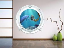 Dolphin Sirène Hublot Sous L'eau Sous-marin Art Mural Autocollant Décalque DM1