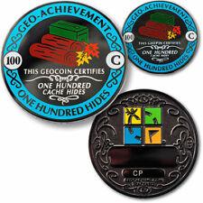 100 Hides Geo-Achievement geocoin geopin milestone Geo-Award geocache