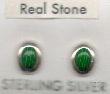 auténtico plata esterlina 925 redondo ovalado pendientes de presión verde musgo