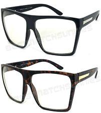 Retro Square Aviator Sunglasses Men Women Oversized Flat Top Square CLEAR Lens