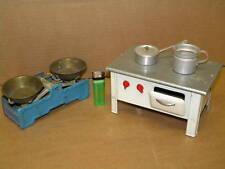PUPPENHERD OFEN B=18cm+WAAGE BLECHSPIELZEUG 1940-50 Küchenherd Puppenküche